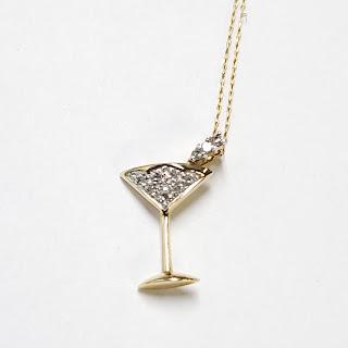 14K Gold & Diamond Martini Pendant