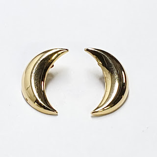 14K Gold Crescent Moon Earrings