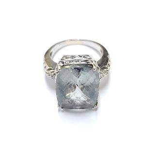 14K White Gold & Aquamarine Ring