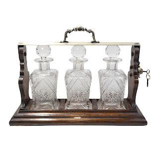 Henry Williamson Oak Tantalus with Crystal Decanters