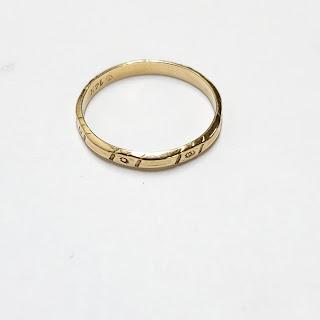 14K Gold Engraved Band
