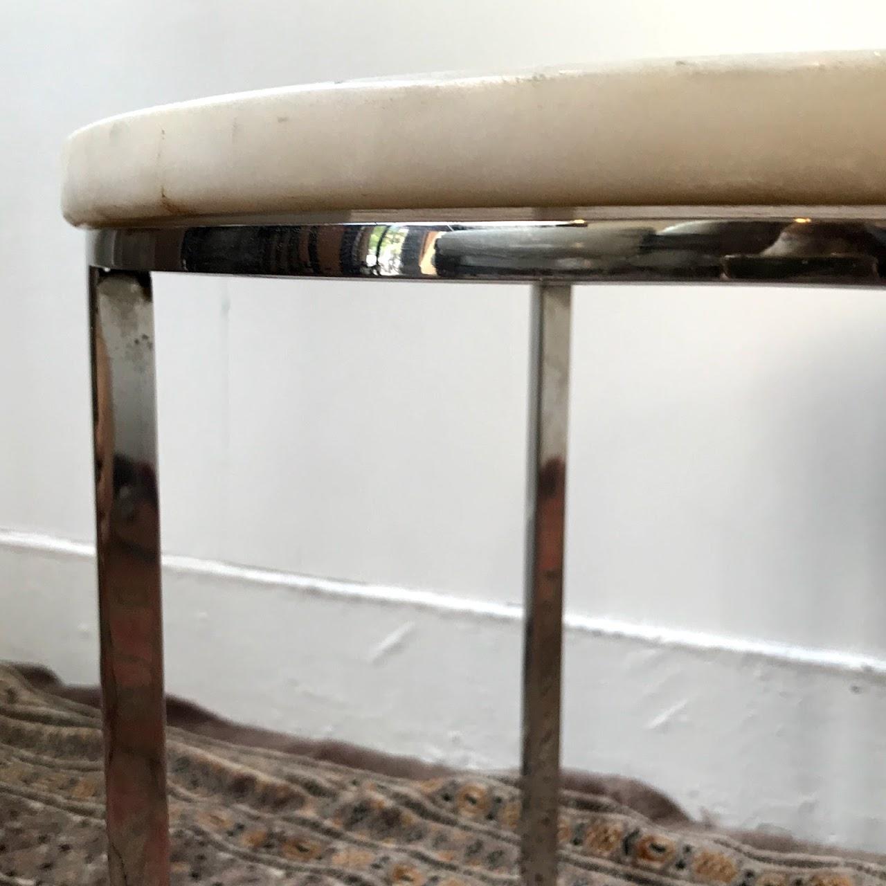 White Granite & Chrome Accent Table