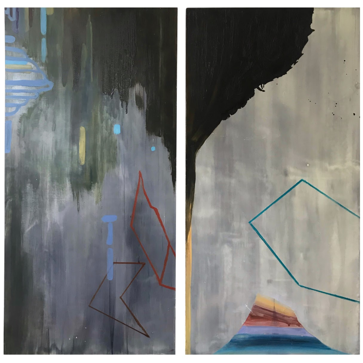 Susan Sharp Signed Diptych Oil Painting