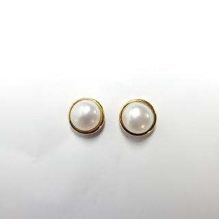 18K Gold & Pearl Button Earrings