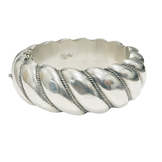 Rene Sitoleux Engraved Silver Bangle