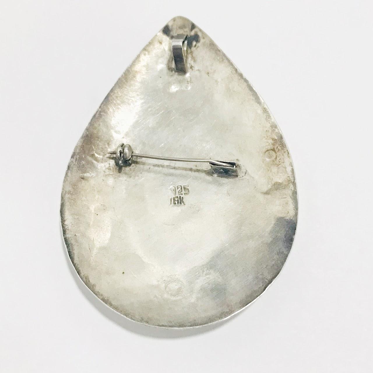 Sterling Silver & 18K Gold Peruvian Teardrop Pendant