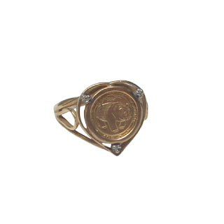 10K Gold & Diamond Chip Panda Coin Ring
