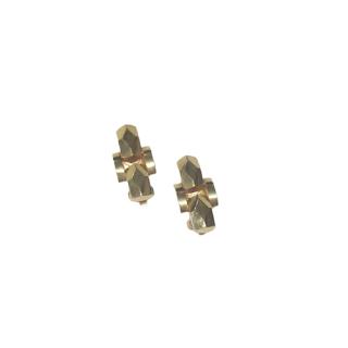 14K Gold Modernist Clip-On Earrings
