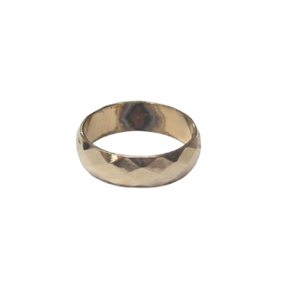 14K Gold Triangle Engraved Ring