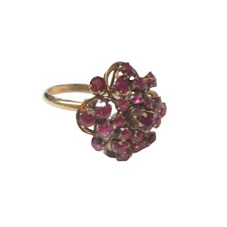 10K Gold & Magenta Stone Floral Ring