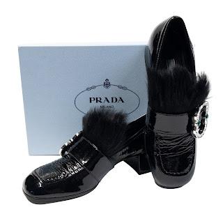 Prada NEW Embellished Patent Loafer