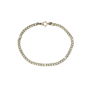 14K Gold Chain Link & Diamond Bracelet