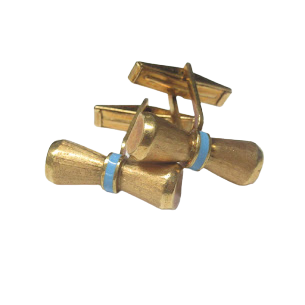 14K Gold & Blue Stone Etched Bow Tie Cuff Links