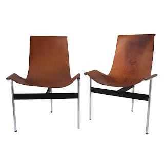 Katavolos T Style Mid-Century Modern Sling Chair Pair
