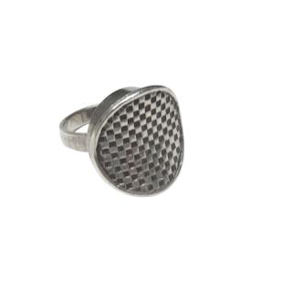 Sterling Silver E. Granite & Co. Vintage Checkerboard Ring
