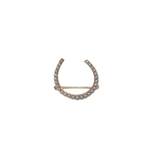 14K Gold & Pearl Horseshoe Brooch