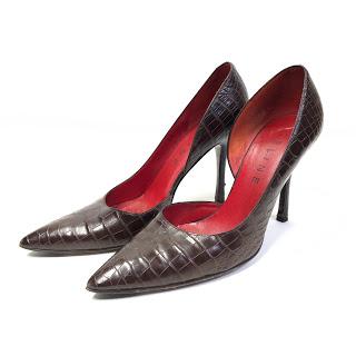 Celine Embossed Leather Pumps