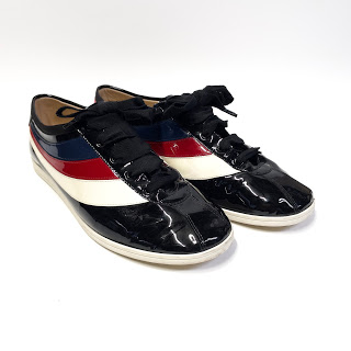 Gucci Falacer Hebron Ace Web Patent Leather Sneakers
