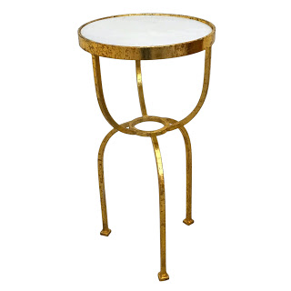 Marble-Top Gilt Contemporary Accent Table