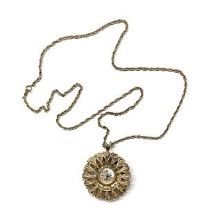 14K Gold Engraved Clock Pendant Necklace