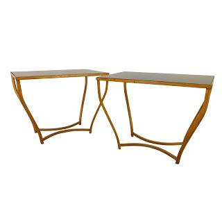 Gilt Black Glass-Top Side Table Pair