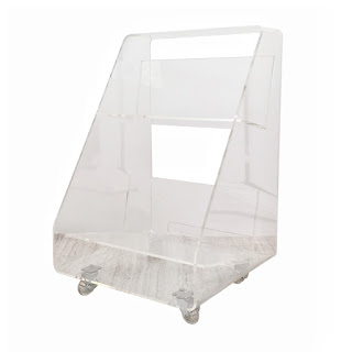 Lucite Rolling Bookcase Cart