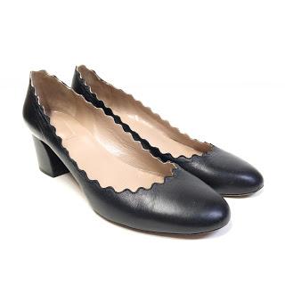 Chloé Scalloped Black Heels