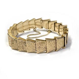 14K Gold Heavy Etched Link Bracelet