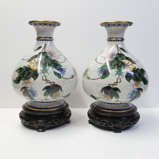 Asian Cloisonné Lilies Vase Pair
