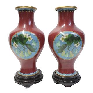 Asian Cloisonné Fruit Vase Pair