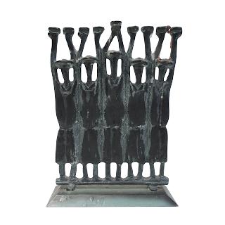 Ruth Block Figural Bronze Menorah, Signed