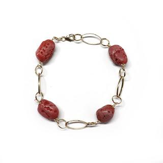 18K Gold & Coral Bead Bracelet
