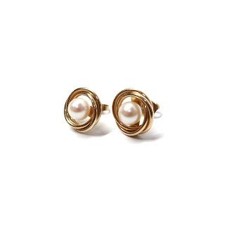 14K Gold  & Pearl Earrings