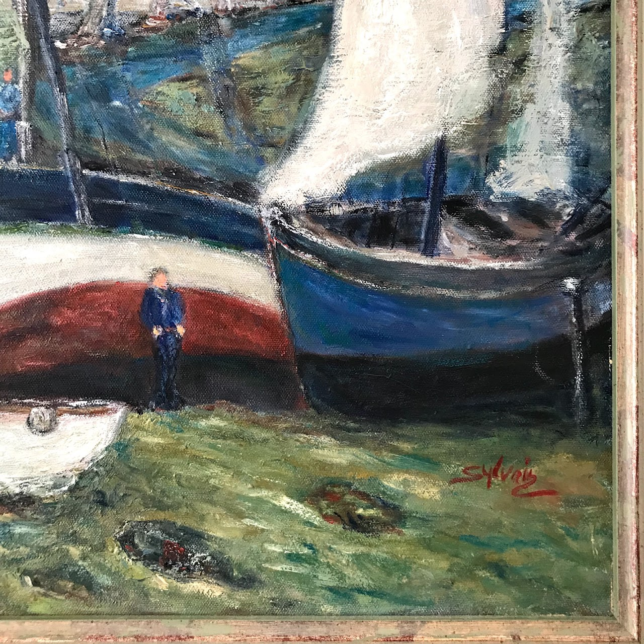 'Le Port' Contemporary Signed Oil Painting