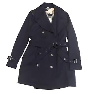 Burberry Brit Navy Blue Wool-Blend Coat