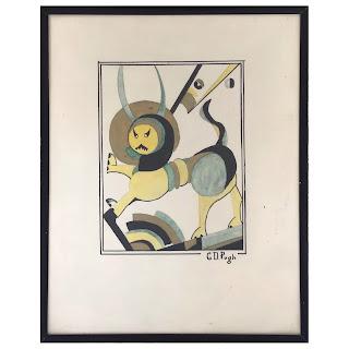 J.D. Pugh Art Deco Lion Signed Ink Drawing