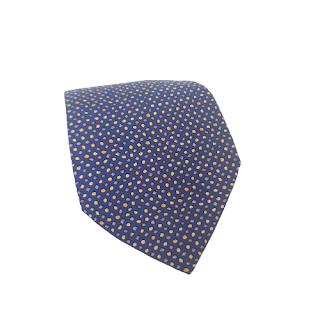 Hermès Blue Polka Dot Silk Tie