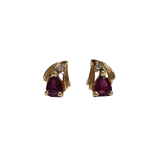 14K Gold, Diamond, and Red Stone Earrings