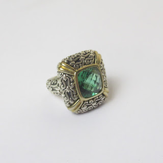 Sterling Silver, 18K Gold & Green Stone Ring
