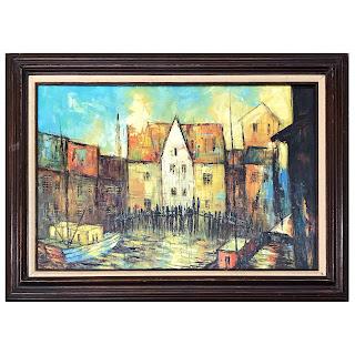 1970s Signed Harbor Scene Oil Painting