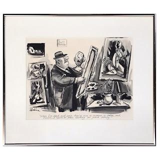 Eldon Lawrence Dandini Signed Watercolor Cartoon Painting