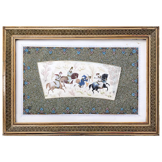 Persian Antique Polo Players Painting