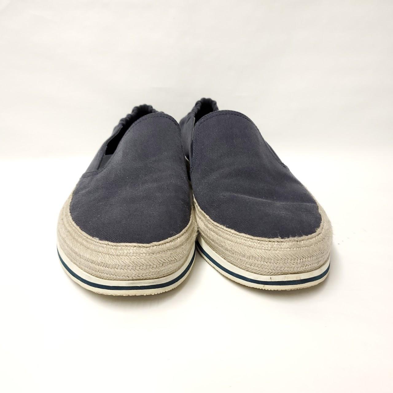 Prada Navy Blue Canvas Slip Ons