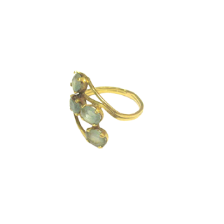 14K Gold & Green Amethyst Wrapped Ring