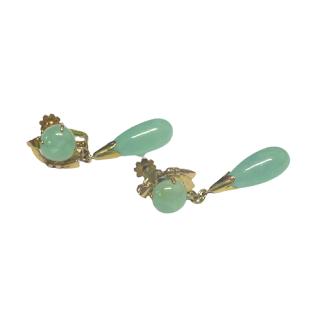 14K Gold &  Jade Screw-Back Clip Earrings