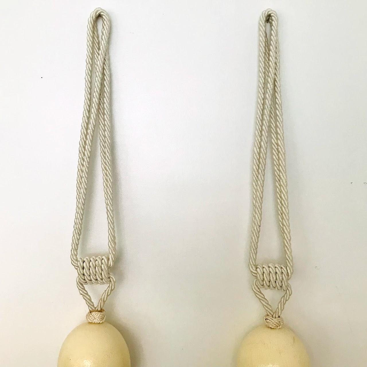 "French Ostrich Egg & Silk 48"" Drapery Tassel Pair"