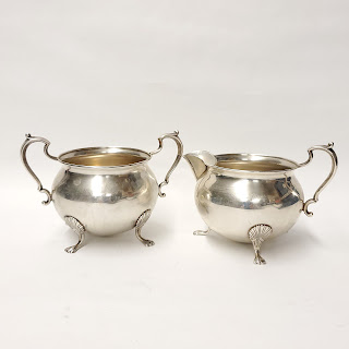 Sterling Silver Fisher Footed Creamer and Sugar Bowl Pair