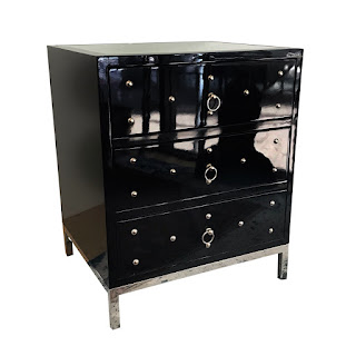 Lacquer & Chrome Mirror Top End Table #2