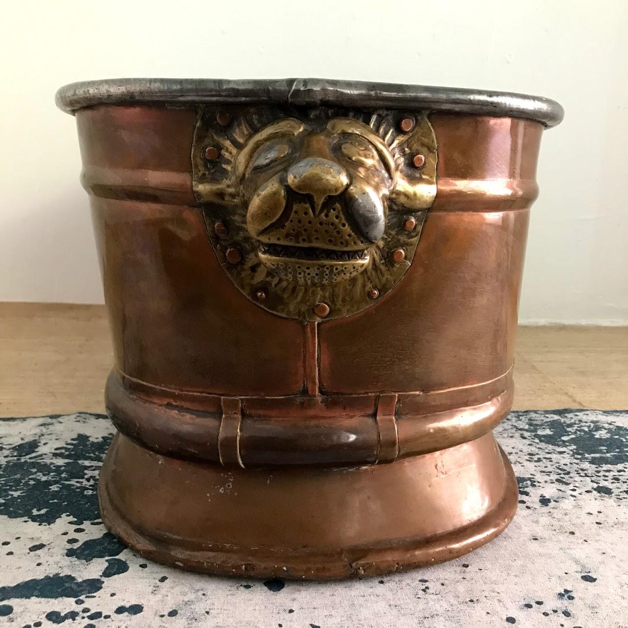Copper & Brass Lion's Head Oval Jardiniere