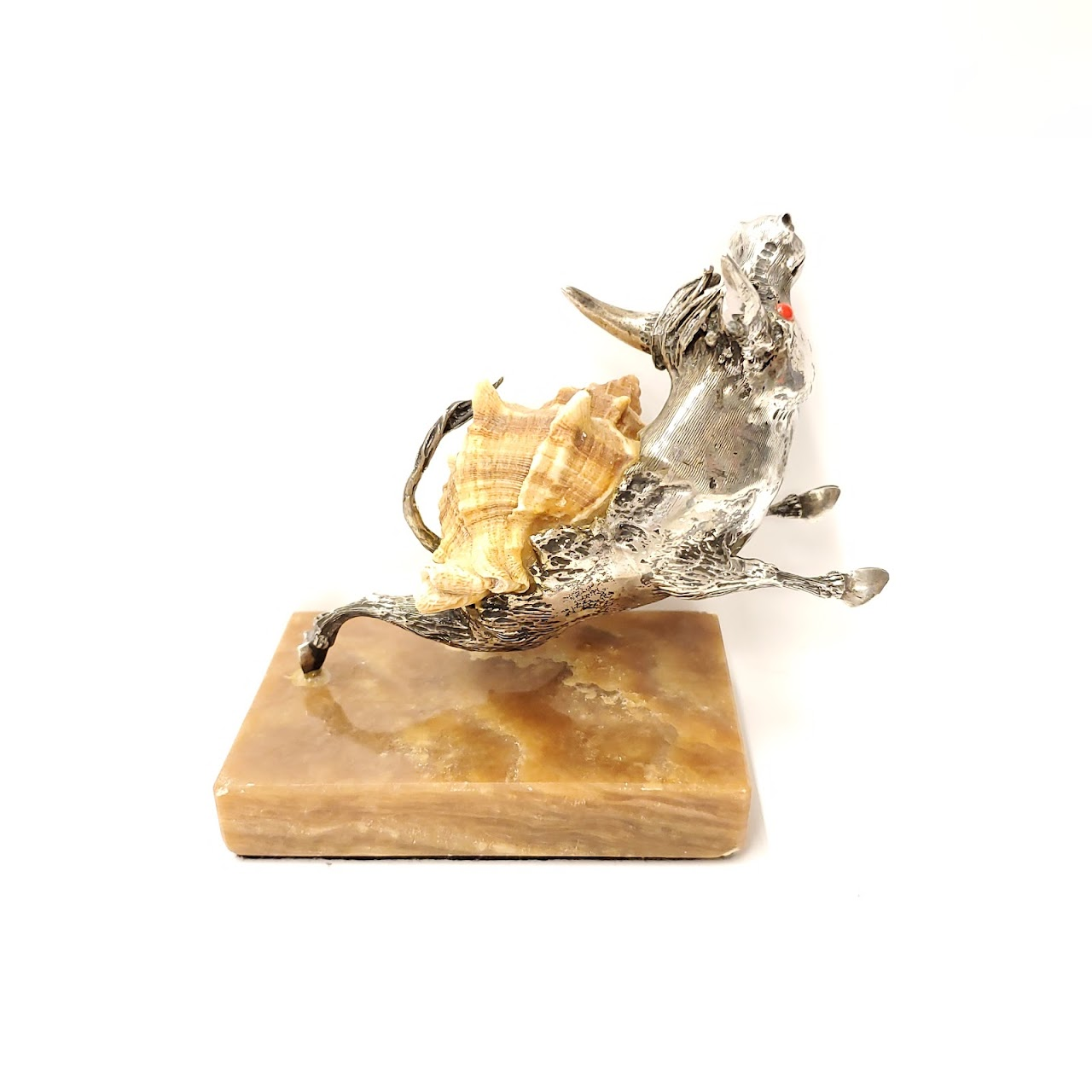 Silver and Shell Bull Figurine